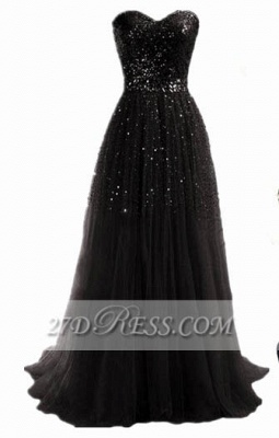 Black Sequined Sweetheart Prom Dress UK Sweep Train Simple Evening Gowns_1