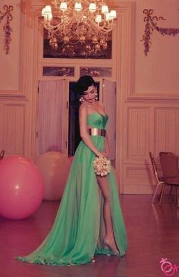 Elegant Green Long Prom Dress UK Sweetheart Slit Chiffon Evening Party Gowns_1