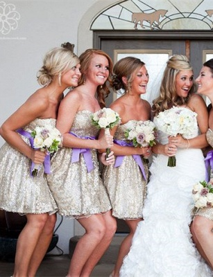 Gorgeous Sleeveless Short Bridesmaid Dress UK Sweetheart Bowknot Sequins_6