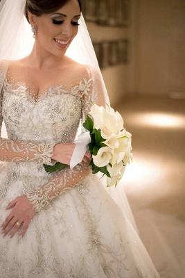 Luxurious Long Sleeve Beadss Wedding Dress Long Train Tulle WE0082_1