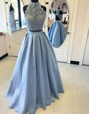 Two-pieces Blue Lace Long High-neck A-line Prom Dress UK_2
