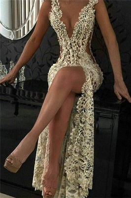 Sexy Lace Evening Gowns Sleeveless Beading Split Popular Prom Dresses CE0061_1