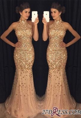 Newest Mermaid Crystals Sleeveless High-Neck Sweep-Train Prom Dress UK BA6613_2