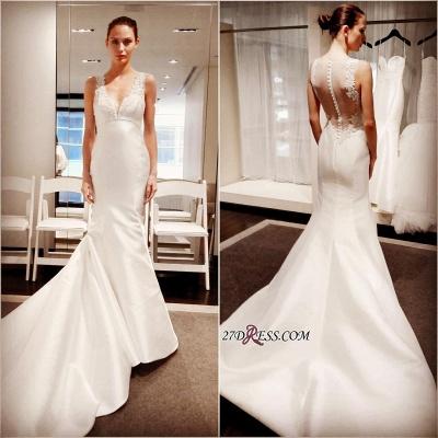 Zipper Sleeveless Button Sexy Mermaid Gorgeous V-Neck Lace Wedding Dress_2