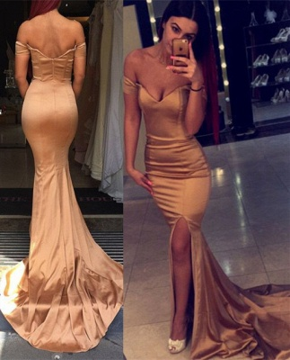 Elegant Off the Shoulder Mermaid Evening Dress UK Zipper Back Prom Gown_2