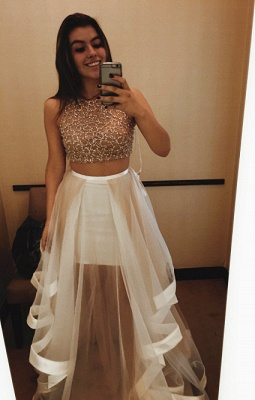 Gorgeous Halter Sleeveless Prom Dress UK With Beadings Ruffle Two Pieces_1