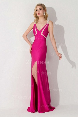 Elegant Front Split Bodycon Evening Dress UK Crystals Sweep Train_2