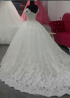 Short Sleeve A-Line Applique Lace Off-the-Shoulder Wedding Dress_2