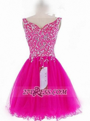 Luxurious Sweetheart Sleeveless Short Homecoming Dress UK Beadings Crystals Lace-up Fuchsia Cocktail Gown_2