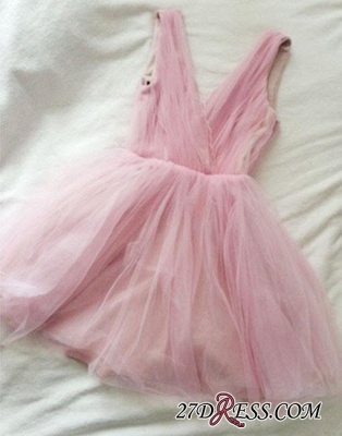Tulle Cute Short Simple Pink V-neck Homecoming Dress UK_3
