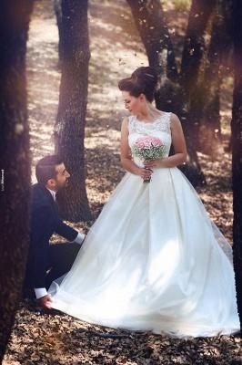 Elegant Ball Gown Illusion Wedding Dress Lace Appliques Sleeveless_8