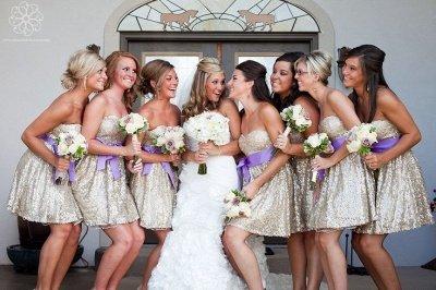 Gorgeous Sleeveless Short Bridesmaid Dress UK Sweetheart Bowknot Sequins_3