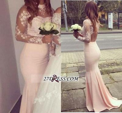 Gorgeous Appliques High-Neck Mermaid Long-Sleeves Bridesmaid Dress UKes UK BA4287_2