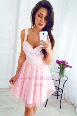 Sleeveless Newest Pink Short A-line Straps Homecoming Dress UK_1