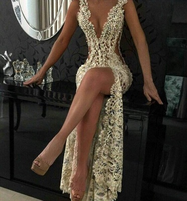 Sexy Lace Evening Gowns Sleeveless Beading Split Popular Prom Dresses CE0061_3