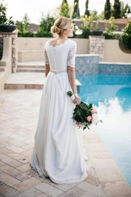 Newest Lace White Half Sleeve Wedding Dress A-line Beadss_4