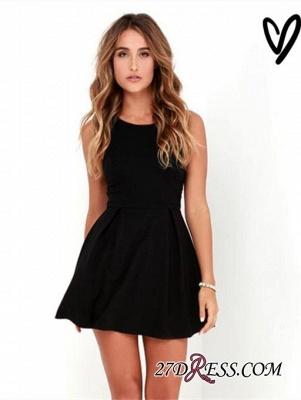 Sleeveless Zipper A-line Modest Black Mini Straps Homecoming Dress UK_5