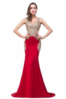 Delicate Mermaid Appliques Straps Prom Dress UK Sweep Train Sleeveless_1