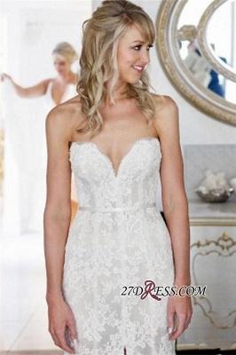 Lace Tulle Sheath Appliques Sweetheart Sleeveless Open-Back Front-Slit Wedding Dress_4