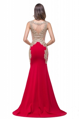 Delicate Mermaid Appliques Straps Prom Dress UK Sweep Train Sleeveless_3
