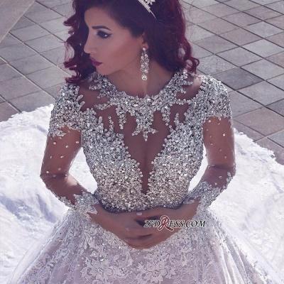 Glamorous Muslim Lace Beads Sheer Cathedral-Train Crystal Vintage Wedding Dress BA6920_3