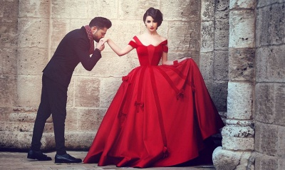Newest Red Bowknot Ball Gown Evening Dress UK Off-the-shoulder Floor-length_3