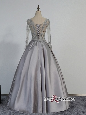 Modest Lace-Appliques Long-Sleeve Beading A-line Prom Dress UK_2