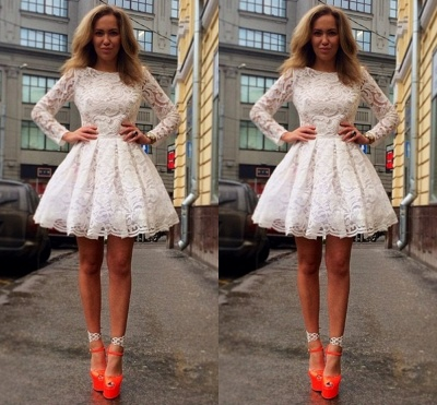 Sexy Long Sleeve Short Homecoming Dress UK With Lace_2