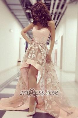 Elegant Sweetheart Sleeveless Hi-Lo Prom Dress UK With Lace Appliques_1