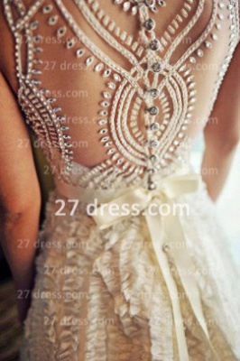 Sequins Wedding Dresses UK Bridal Gowns Gorgeous A-line Ruffles Crystals Beaded Bateau Button Back_2
