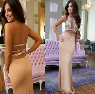 Luxury Crystals Mermaid Prom Dress UK Halter Two Piece_3