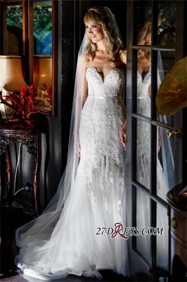 Lace Tulle Sheath Appliques Sweetheart Sleeveless Open-Back Front-Slit Wedding Dress_5