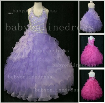 Beaded Organza Girls Pageant Dresses for Sale with Affordable Charming Wholesale Layered Gowns for_1