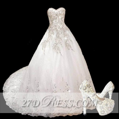 Modest A-Line Sweetheart Lace Wedding Dress Beaded Sweep Train Bridal Gowns_1
