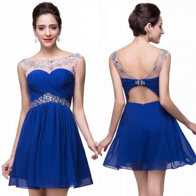 Gorgeous Royal Blue Short Chiffon Homecoming Dress UK Cap Sleeve Beadings Cocktail Dress UK CPS094_5