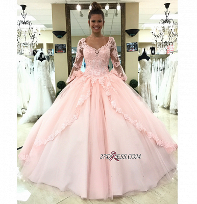 Long-Sleeve Pink Wedding Dress | Lace Ball-Gown Bridal Gowns_2