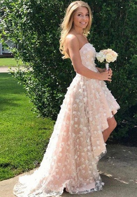 Strapless Hi-Lo Lace Appliques Prom Dress UK On Sale_1
