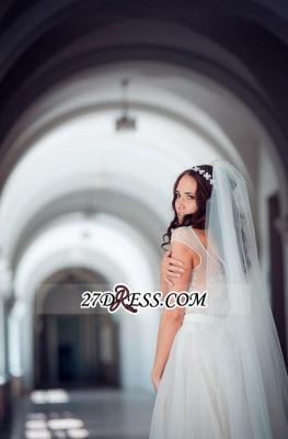 Long Lace Tulle Cap-Sleeve Split Elegant Wedding Dress_4