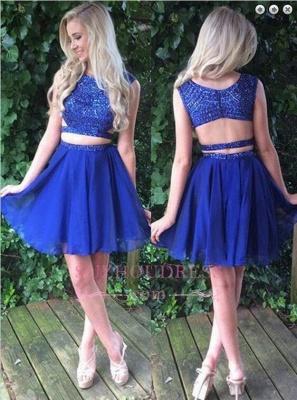 Beading Two-Piece Short Sleeveless Royal-Blue Modest Homecoming Dress UK_1