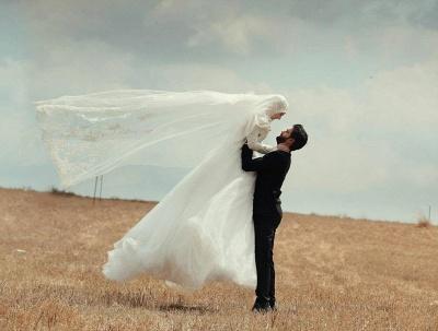 Gorgeous Long Sleeve Wedding Dress Tulle Lace Appliques Belt_4