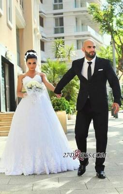 Newest Sweetheart Lace Sleeveless A-line Wedding Dress_2