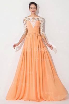 Sexy A-line Lace Chiffon Evening Dress UK 3/4-Length Sleeve_1