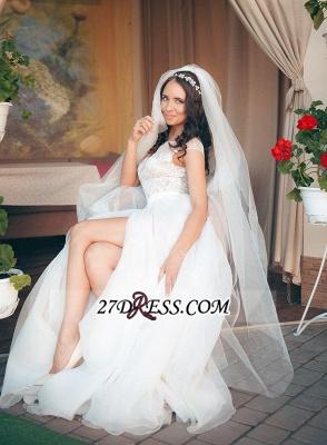 Long Lace Tulle Cap-Sleeve Split Elegant Wedding Dress_2