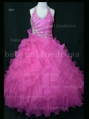 Beaded Organza Girls Pageant Dresses for Sale with Affordable Charming Wholesale Layered Gowns for_6