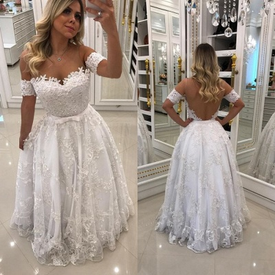Modern White Beads Lace A-line Evening Dress UK | Off-the-shoulder Evening Gown_4