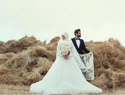 Gorgeous Long Sleeve Wedding Dress Tulle Lace Appliques Belt_3