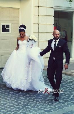 Newest Sweetheart Lace Sleeveless A-line Wedding Dress_3