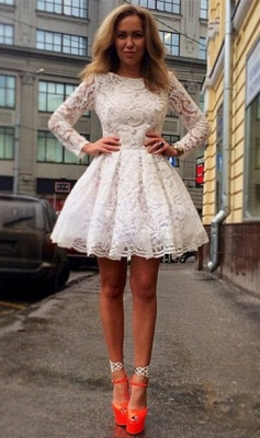 Sexy Long Sleeve Short Homecoming Dress UK With Lace_3