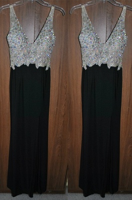 Newest Crystals A-line Straps Prom Dress UK Sleeveless Black_1