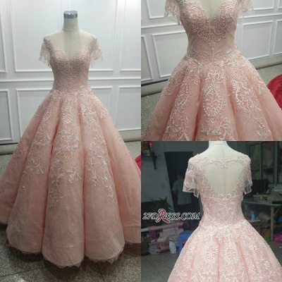 Fairy Ball-Gown Pink Short Sleeves Prom Dress UK Princess With Lace_2
